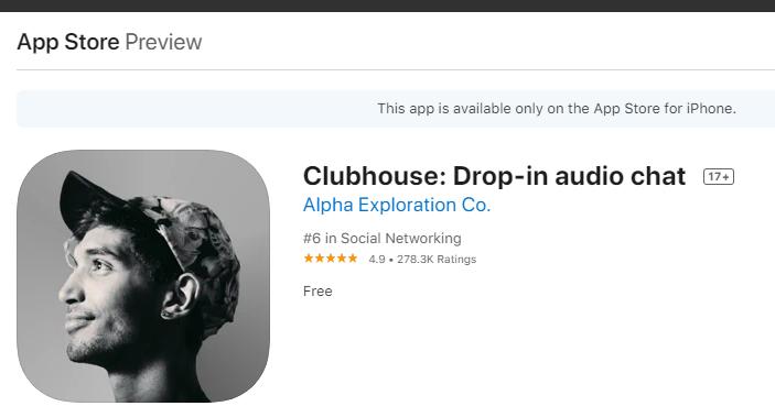 clubhouse simge Şu an iPhone veya iPad sahibi olmanız gerekiyor. Uygulama mağazasına girin Clubhouse aratıp yükleyin. Linki ekliyorum. Android'de bu yazı yazıldığında henüz uygulaması yoktu. İsim benzerliği olabilir aşağıdaki görüntüdeki ismi bulmuş olmalısınız. Geliştirici Alpha Exploration Co. Şu an iPhone veya iPad sahibi olmanız gerekiyor. Uygulama mağazasına girin Clubhouse aratıp yükleyin. Linki ekliyorum. Android'de bu yazı yazıldığında henüz uygulaması yoktu. İsim benzerliği olabilir aşağıdaki görüntüdeki ismi bulmuş olmalısınız. Geliştirici Alpha Exploration Co.
