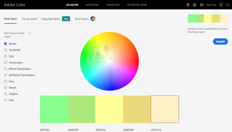 color Web'de renk seçimi ve uyumlu, karşıt renkler, sıcak renkler, soğuk renkler, gölge tonları, tek rengin tonlarını seçmek için siteler de var. Ancak Adobe gerçekten çok profesyonel bir firma. Siteye girdiğinizde bu online aracı çok beğeneceğinizi hemen anlıyorsunuz. Her zaman ki gibi basit kullanımlı ve çok güçlü. Web'de renk seçimi ve uyumlu, karşıt renkler, sıcak renkler, soğuk renkler, gölge tonları, tek rengin tonlarını seçmek için siteler de var. Ancak Adobe gerçekten çok profesyonel bir firma. Siteye girdiğinizde bu online aracı çok beğeneceğinizi hemen anlıyorsunuz. Her zaman ki gibi basit kullanımlı ve çok güçlü.