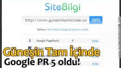 Photo of Güneşin Tam İçinde Google PR 5 oldu!