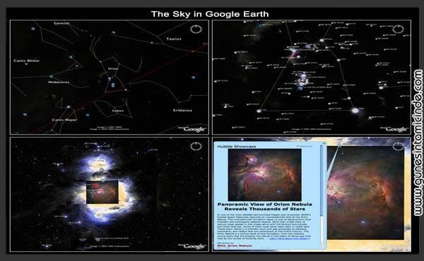 googlesky 1 SKY projesi ise işin yine uzmanları tarafından Google için yapılmış büyük bir çalışmayı kapsıyor. Google Earth'e eklenti olarak yazılmış programda gerek yüz milyonlarca yıldız ve galaksi haritaları, konumları, gerekse Hubble gibi uzay teleskoplarından alınan görüntülerle, resmi kanallardan gelen tanımlayıcı bilgiler bulunuyor.. SKY projesi ise işin yine uzmanları tarafından Google için yapılmış büyük bir çalışmayı kapsıyor. Google Earth'e eklenti olarak yazılmış programda gerek yüz milyonlarca yıldız ve galaksi haritaları, konumları, gerekse Hubble gibi uzay teleskoplarından alınan görüntülerle, resmi kanallardan gelen tanımlayıcı bilgiler bulunuyor..