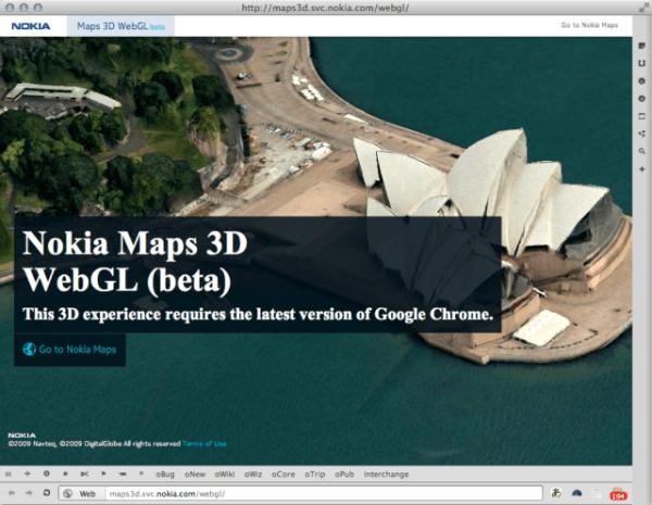 nokia map webgl 600x465 Internette 3 Boyutlu Nesneler   WEBGL